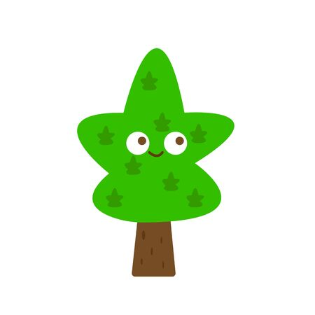 cute tree with a green top and a smile cartoon forest character object on a white background nature and environment concept Ilustracja