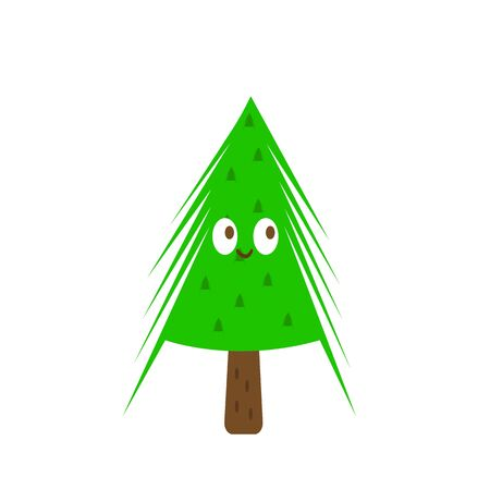 cartoon character green spruce with sharp needles and a cute smile object on a white background concept of nature and winter holidays