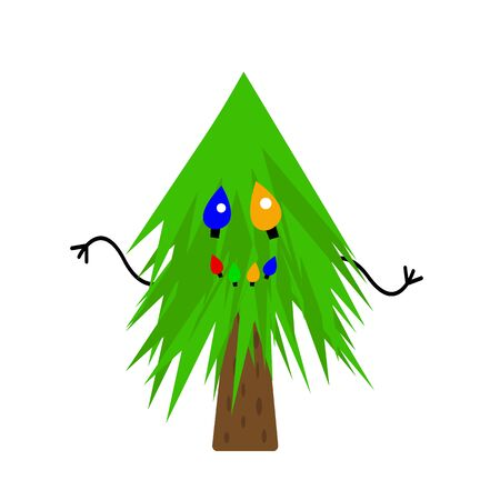 fluffy forest fir tree with sharp needles multi-colored garlands and a smile a festive tree a symbol of Christmas and New Year object on a white background
