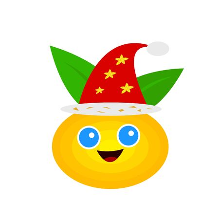 festive mandarin with a joyful smile and big blue eyes cartoon character with green leaves and red santa hat object on white background new year and christmas concept
