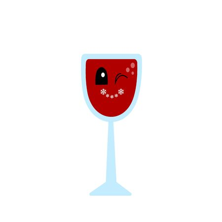 winking glass of red wine with a sweet smile concept of winter holidays and alcohol drinks object on a white background Ilustracja