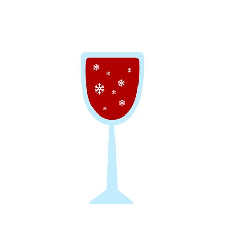glass with red wine and a pattern of white snowflakes festive alcoholic drink object on a white background Christmas and New Year concept