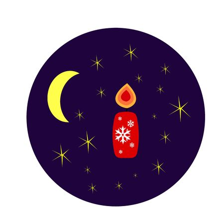 red burning candle with patterns of white snowflakes against the night sky with bright stars and the moon