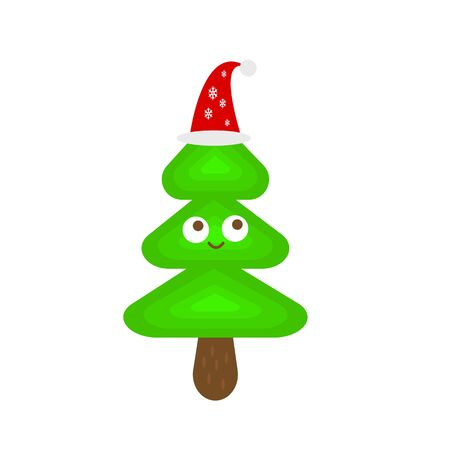 Christmas tree in santa hat cartoon character sweet smile and big round eyes concept of winter holidays and new year object on a white background