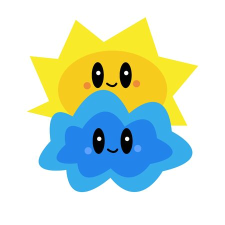 cloud and sun cute smiling characters on a white background weather and nature concept Ilustracja