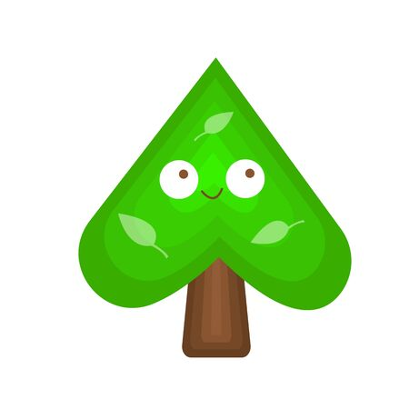 inverted heart cartoon tree character with leaf patterns and cute smile concept of nature and environment object on white background Illustration