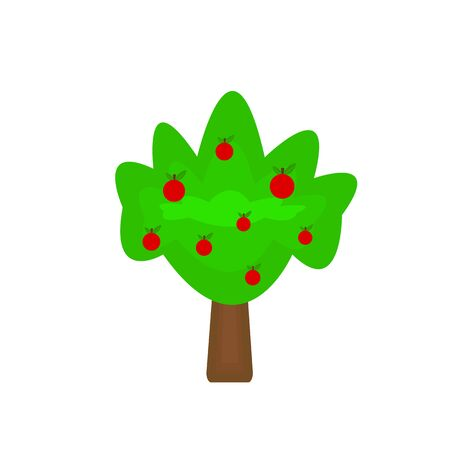 apple tree with red fruits and green top object on white background gardening and nature concept Illustration