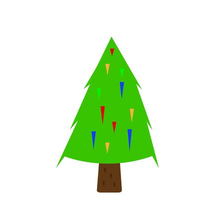 spruce tree with green top and multi-colored needles garlands the concept of the New Year and Christmas forest tree winter holidays symbol object on a white background