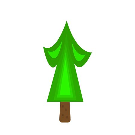 green spruce with a brown trunk and beautiful patterns forest tree symbol of winter holidays object on a white background