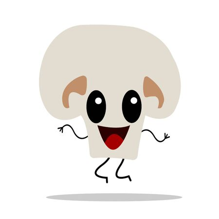 champignon mushroom cartoon character jumping and dancing on a white background concept of cooking and ingredients