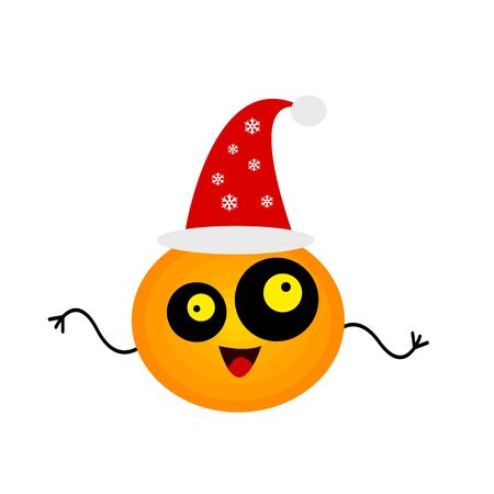 funny and nuts mandarin with round eyes different-sized cartoon character fruit on a white background concept of christmas and new year