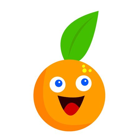 orange with bright blue eyes a green leaf and joyful emotion concept tropical fruit and food object on a white background