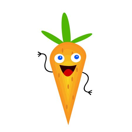 cartoon carrot character with a happy smile and blue eyes concept of vegetables and vitamins cartoon character on a white background Ilustracja
