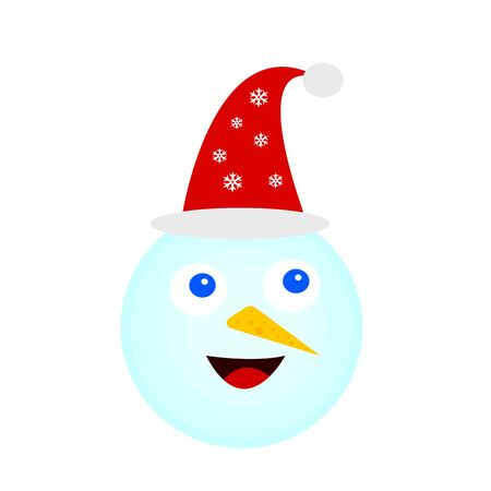 portrait of a snowman with a joyful smile and in a Santa hat with patterns of snowflakes cartoon character on a white background concept of winter and holidays Ilustracja