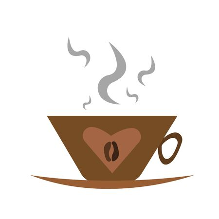 cup of coffee with grain and heart pattern popular hot drink with steam object on white background concept of energy and vigor