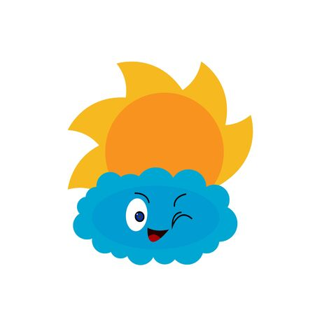 fluffy cloud and sun cartoon character on a white background nature and weather concept