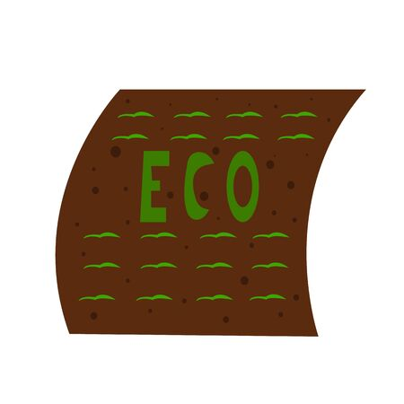 field with green sprouts and the inscription Eco in English agricultural concept