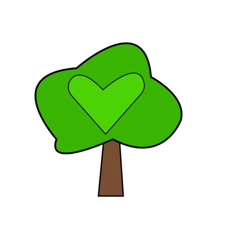 tree with green top and bright pattern in the shape of a heart concept of nature and forest plant object on a white background
