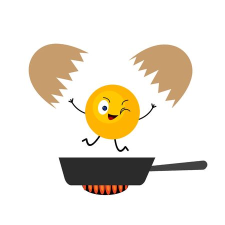 egg shell and yolk falling in the pan cartoon character winks and smiles concept of food and cooking object on a white background