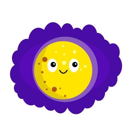 bright moon in purple night sky cartoon character with a cute smile and black eyes space concept