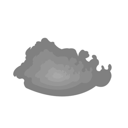 Gray smoke cloud with patterns object on a white background concept of smoking and pollution 向量圖像