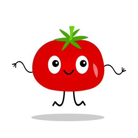 red ripe tomato with big eyes and a lovely smile cartoon character jumping on a white background concept of vegetables and agriculture
