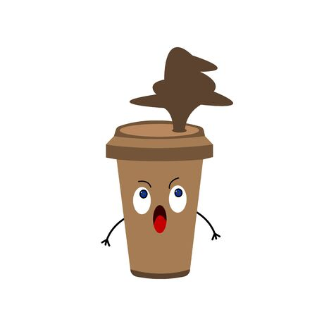 coffee cup funny cartoon character with emotion of surprise splash of brown drink object on white background concept of energy and activity