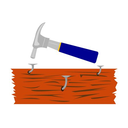 hammer and bent hammered nails in a wooden board concept industry and tool objects on a white background  イラスト・ベクター素材