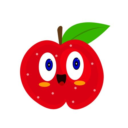 red apple cartoon character with blue shining eyes and a cute wide smile concept of fruit and food object on a white background