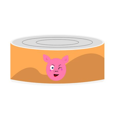 Tin can with stew or pate portrait of a piglet winking and smiling eating concept object on a white background