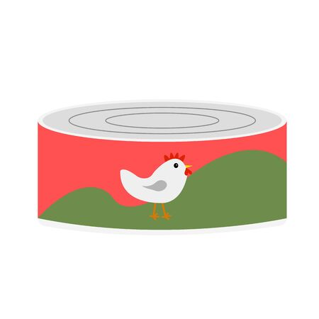 tin can with chicken pate and drawn bird on a label concept food object isolated on white background Ilustração