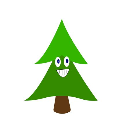 Green spruce cartoon character with smile and blue shining eyes festive Forest tree concept New Year and Christmas object on a white background Illusztráció