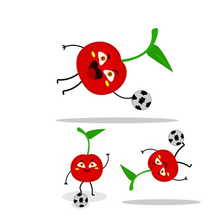 Cherry with a soccer ball active cartoon character on a white background concept of vitamins and fruits