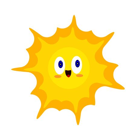 Orange sun bright cartoon character with blue sparkling eyes and a sweet smile. Symbol of heat and summer object on a white background concept of nature and environment
