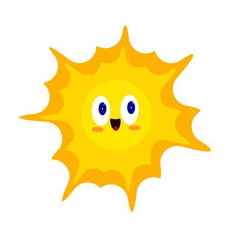 Personnage de dessin animé lumineux au soleil orange avec des yeux bleus pétillants et un doux sourire. Symbole de la chaleur et de l'objet d'été sur un fond blanc concept de nature et d'environnement