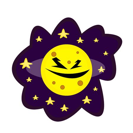 Moon monster. Round with crater patterns. In the dark night sky around bright stars. Space concept. Logo for design Stock Illustratie