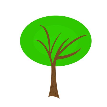 Natural tree logo with green top and sharp branches. Environment concept object on white background. 일러스트