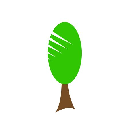 Natural logo Poplar tree Forest plant with green top and brown trunk. environment concept object on white background