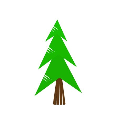Green spruce forest tree natural logo concept environment symbol winter holidays 일러스트