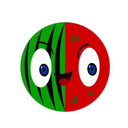 cartoon character round watermelon with heart-shaped seeds and big shining eyes concept of summer harvest and agriculture object on a white background logo for design  イラスト・ベクター素材