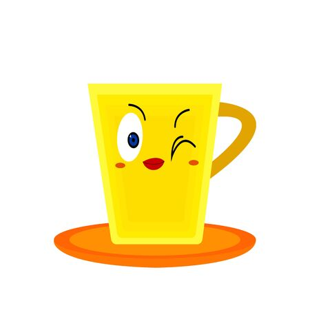 yellow-orange cup bright cartoon character with red lips winks on a white background concept of accessories and drinks logo for design
