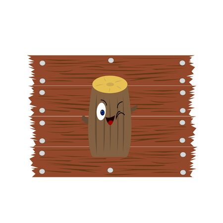 Round wood cartoon character log on the background of boards the concept of building materials logo for design  イラスト・ベクター素材