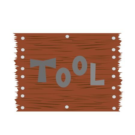 tool word in English on a background of brown wooden boards with nails. industry concept logo for design