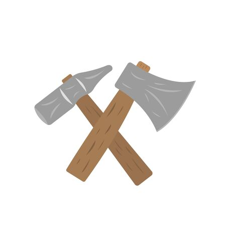Tools for woodworking hammer and ax concept industry object on a white background logo for design