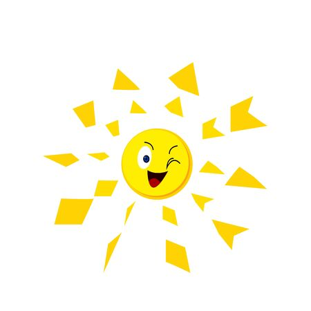 Bright sun cartoon character winks and smiles beautiful patterns rays object on a white background concept of nature and environment
