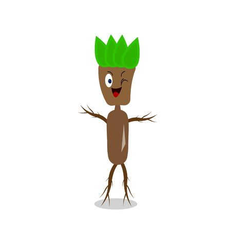 Wooden man with arms and legs in the shape of branches. Forest character for design cute smiles and winks on a white background nature and fantasy concept