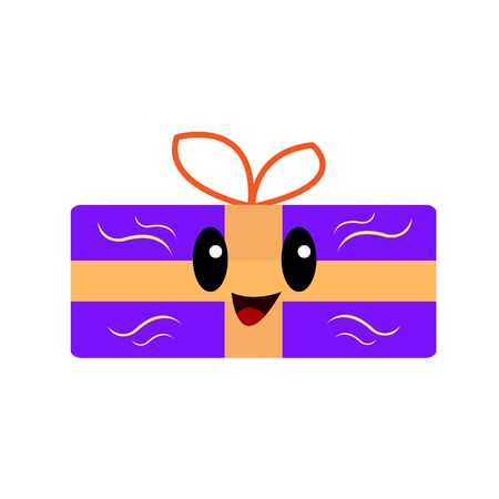Funny gift box purple with yellow patterns wavy lines black. Shiny eyes and cute smile. Cartoon character for holiday concept design