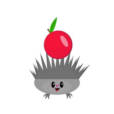 Hedgehog and apple cute cartoon character with heart-shaped nose and black shiny eyes red appetizing fruit animal and nature concept object on a white background logo for design
