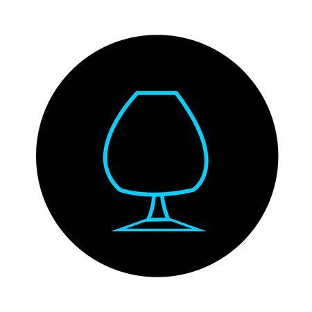 Blue glass of cognac on a black background alcohol concept round logo for design