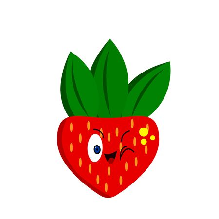 Strawberry cartoon character with cute smile and green leaves food concept fruit on white background logo for design